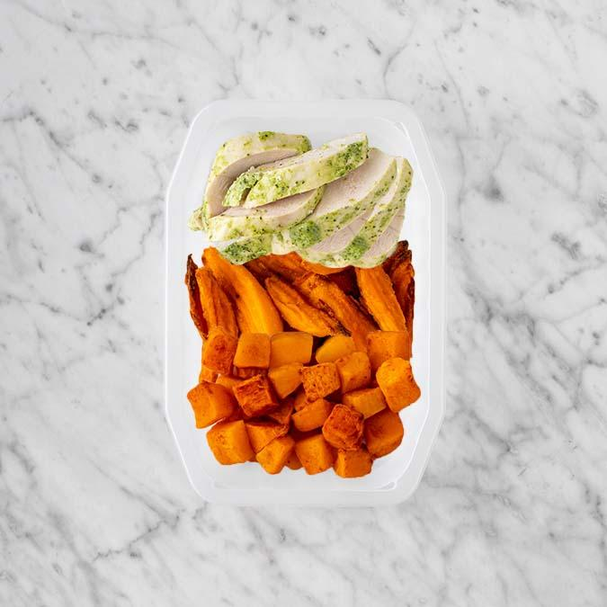 100g Garlic Herb Chicken Breast 50g Sweet Potato Fries 250g Rosemary Baked Sweet Potato