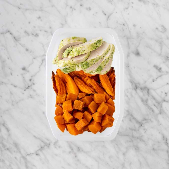 100g Garlic Herb Chicken Breast 50g Sweet Potato Fries 150g Smokey Pumpkin