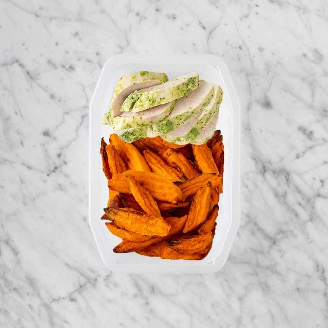 100g Garlic Herb Chicken Breast 50g Sweet Potato Fries 100g Sweet Potato Fries