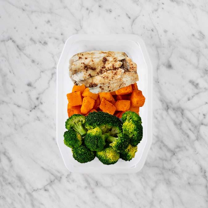150g Honey Soy Barramundi 100g Rosemary Baked Sweet Potato 100g Broccoli