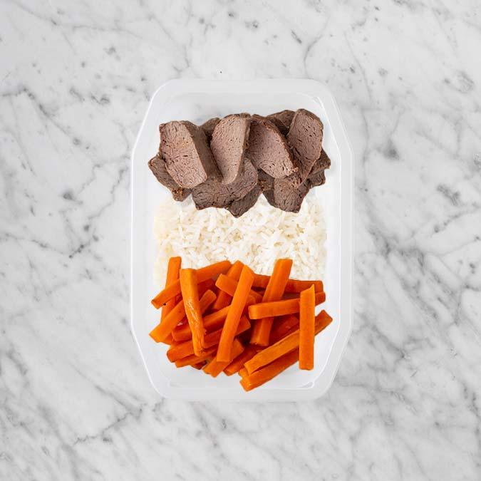 100g Mediterranean Lamb 100g Basmati Rice 100g Honey Baked Carrots