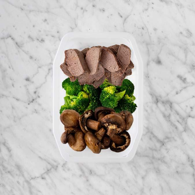 100g Mediterranean Lamb 150g Broccoli 200g Mushrooms