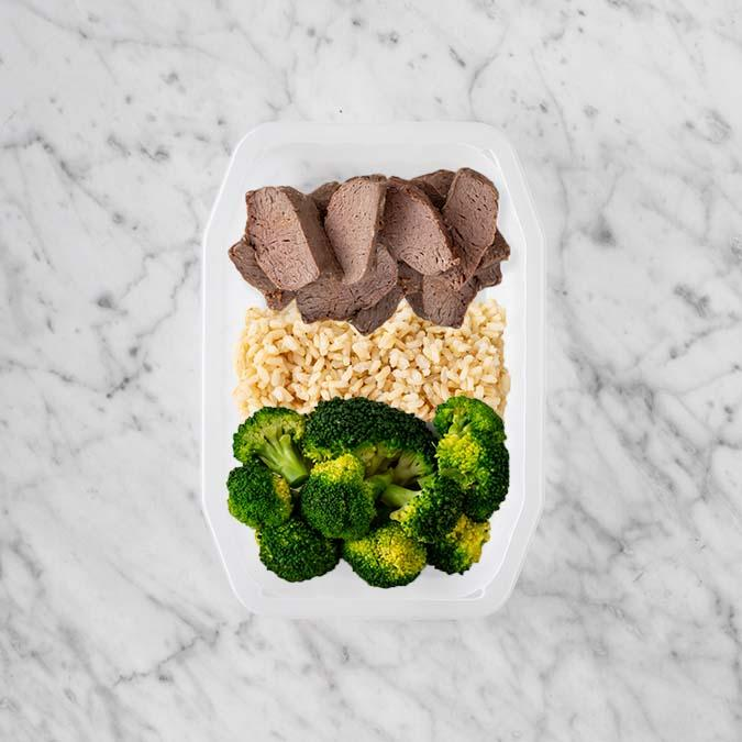 100g Mediterranean Lamb 100g Brown Rice 150g Broccoli