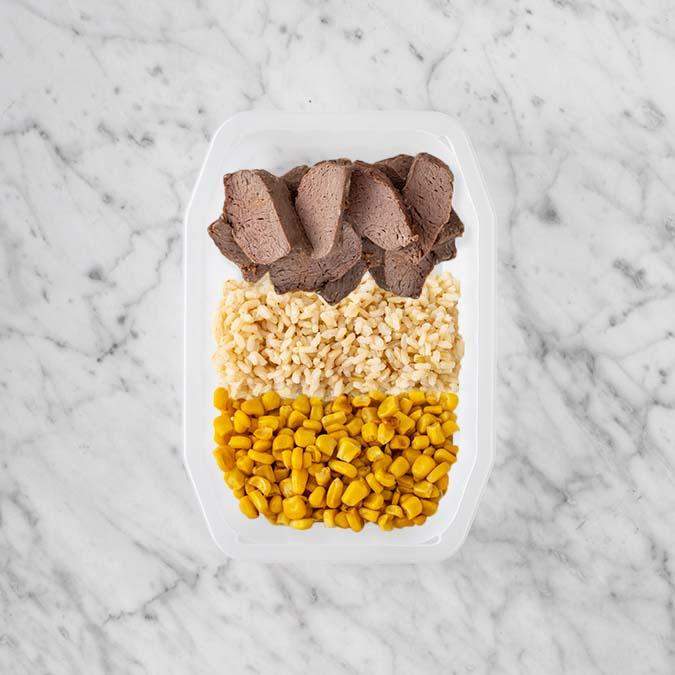 100g Mediterranean Lamb 200g Brown Rice 150g Corn