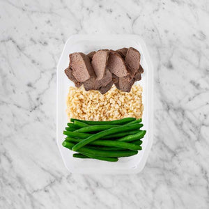 100g Mediterranean Lamb 100g Brown Rice 250g Green Beans