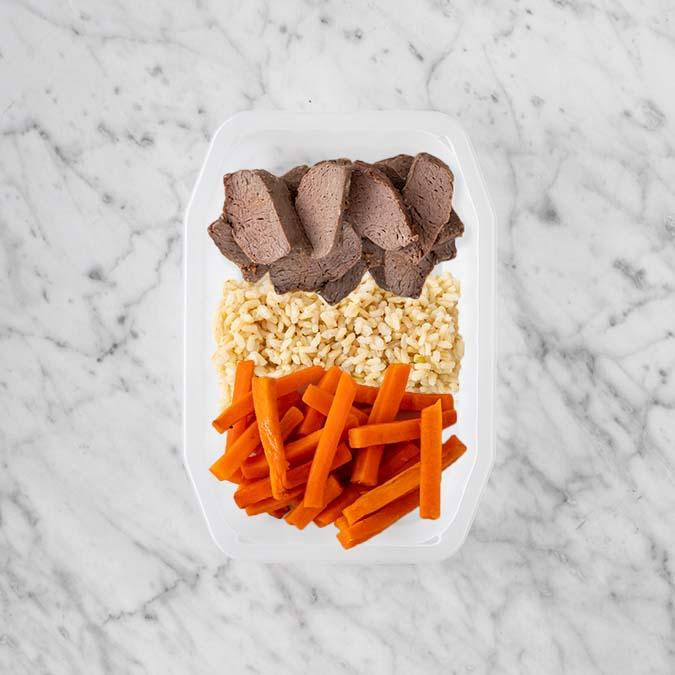 100g Mediterranean Lamb 100g Brown Rice 100g Honey Baked Carrots