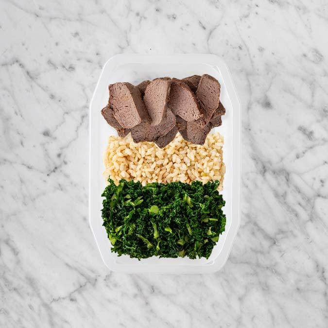 100g Mediterranean Lamb 100g Brown Rice 50g Kale
