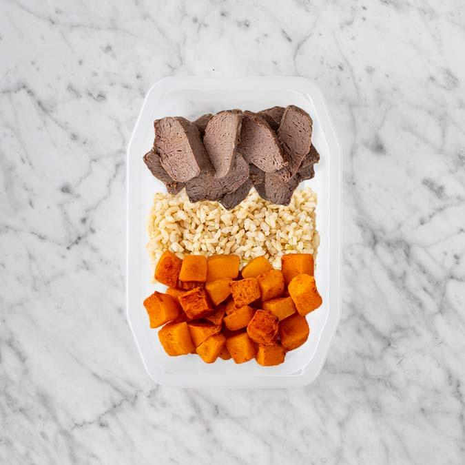 100g Mediterranean Lamb 100g Brown Rice 250g Rosemary Baked Sweet Potato