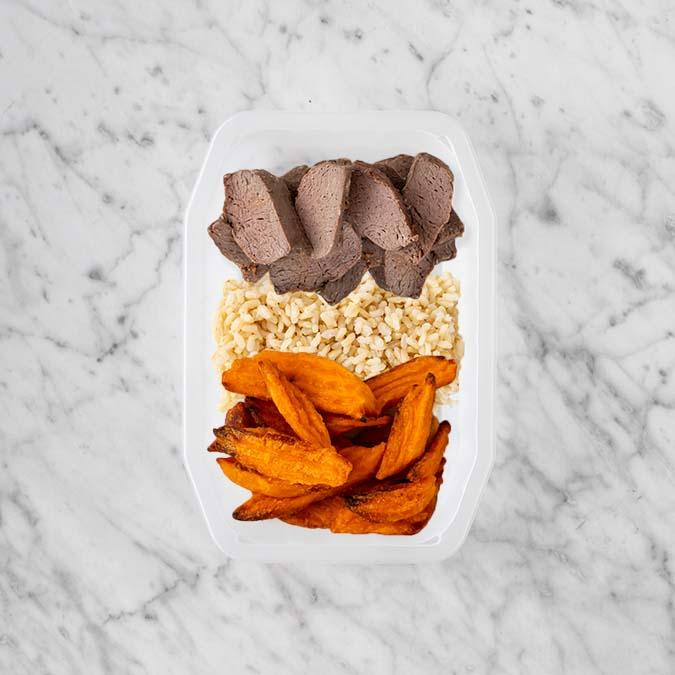 100g Mediterranean Lamb 100g Brown Rice 150g Sweet Potato Fries
