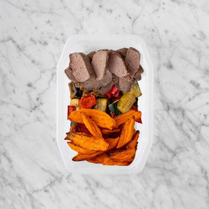 100g Mediterranean Lamb 50g Char Veg 100g Sweet Potato Fries