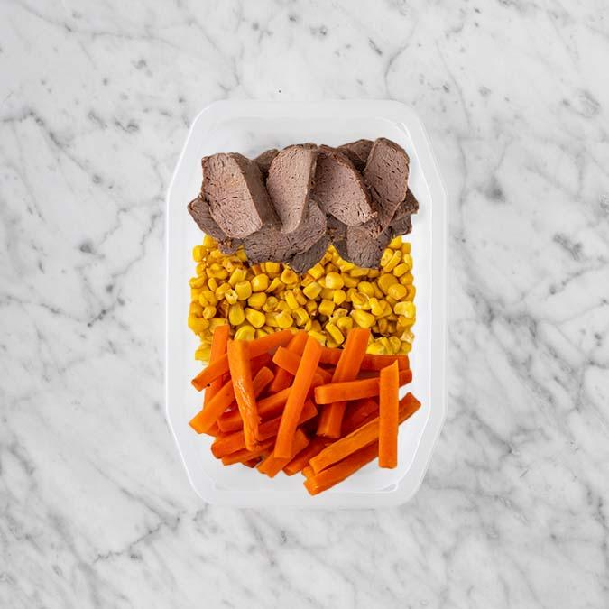 100g Mediterranean Lamb 50g Corn 200g Honey Baked Carrots