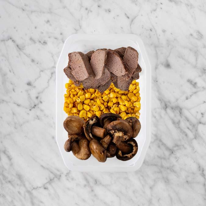 100g Mediterranean Lamb 50g Corn 250g Mushrooms