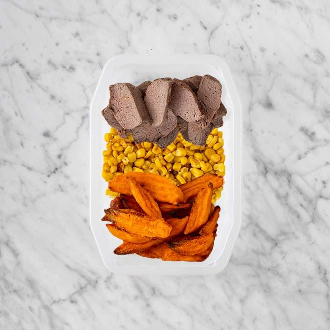 100g Mediterranean Lamb 100g Corn 200g Sweet Potato Fries