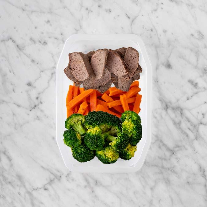 100g Mediterranean Lamb 100g Honey Baked Carrots 250g Broccoli