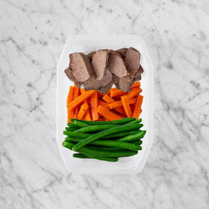 100g Mediterranean Lamb 100g Honey Baked Carrots 150g Green Beans