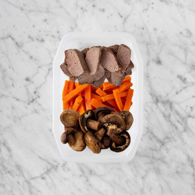 100g Mediterranean Lamb 100g Honey Baked Carrots 150g Mushrooms