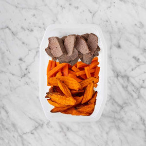 100g Mediterranean Lamb 150g Honey Baked Carrots 150g Sweet Potato Fries