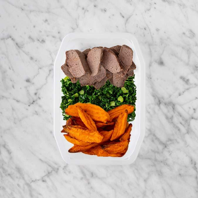 100g Mediterranean Lamb 150g Kale 100g Sweet Potato Fries