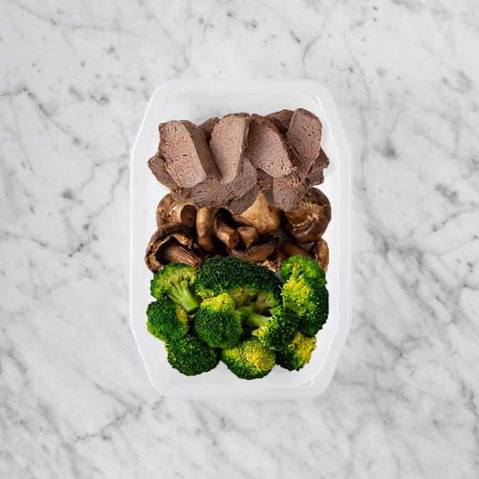 100g Mediterranean Lamb 150g Mushrooms 50g Broccoli