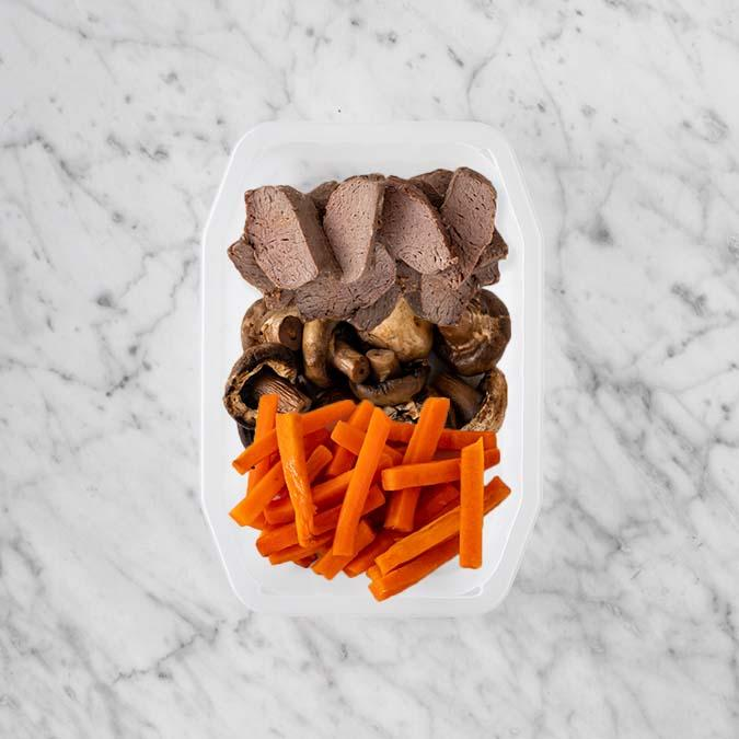 100g Mediterranean Lamb 50g Mushrooms 100g Honey Baked Carrots