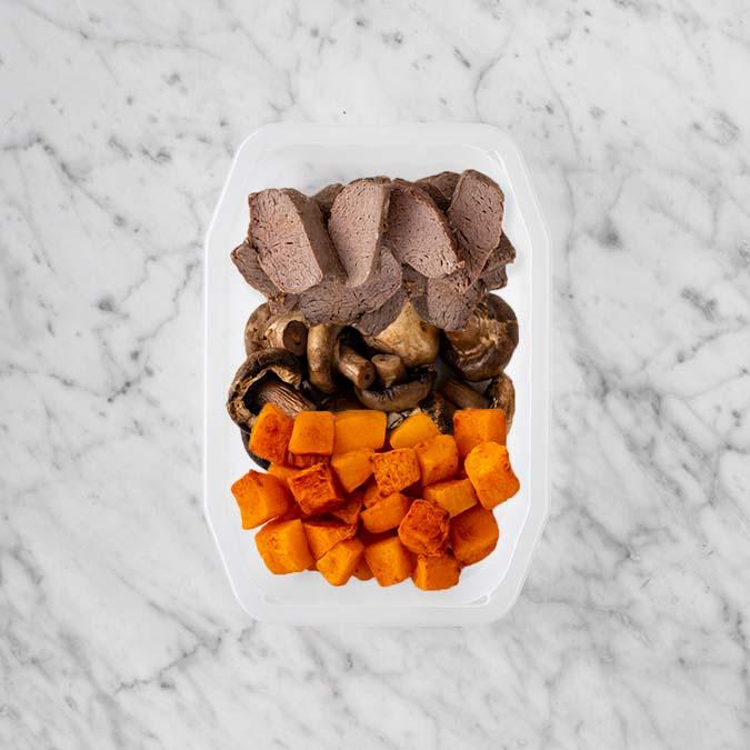 100g Mediterranean Lamb 150g Mushrooms 50g Rosemary Baked Sweet Potato