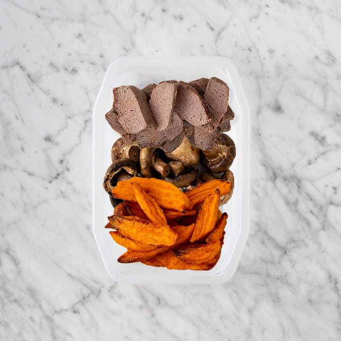 100g Mediterranean Lamb 50g Mushrooms 100g Sweet Potato Fries