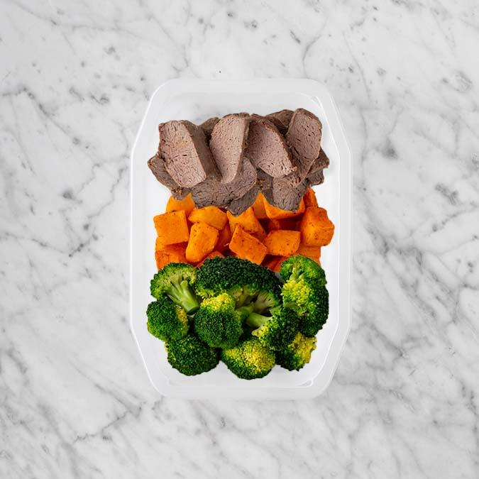100g Mediterranean Lamb 100g Rosemary Baked Sweet Potato 50g Broccoli