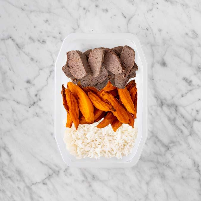 100g Mediterranean Lamb 100g Sweet Potato Fries 100g Basmati Rice