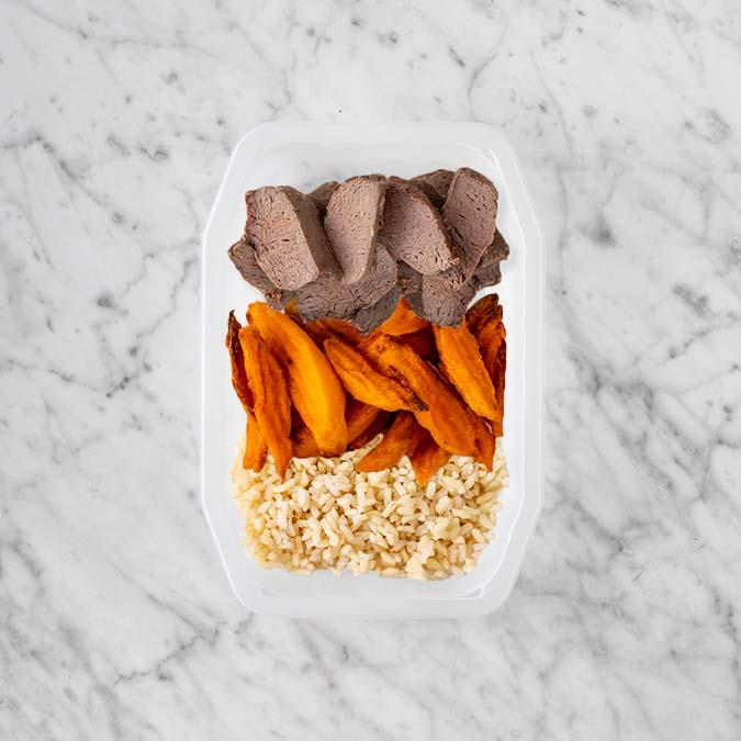 100g Mediterranean Lamb 100g Sweet Potato Fries 50g Brown Rice