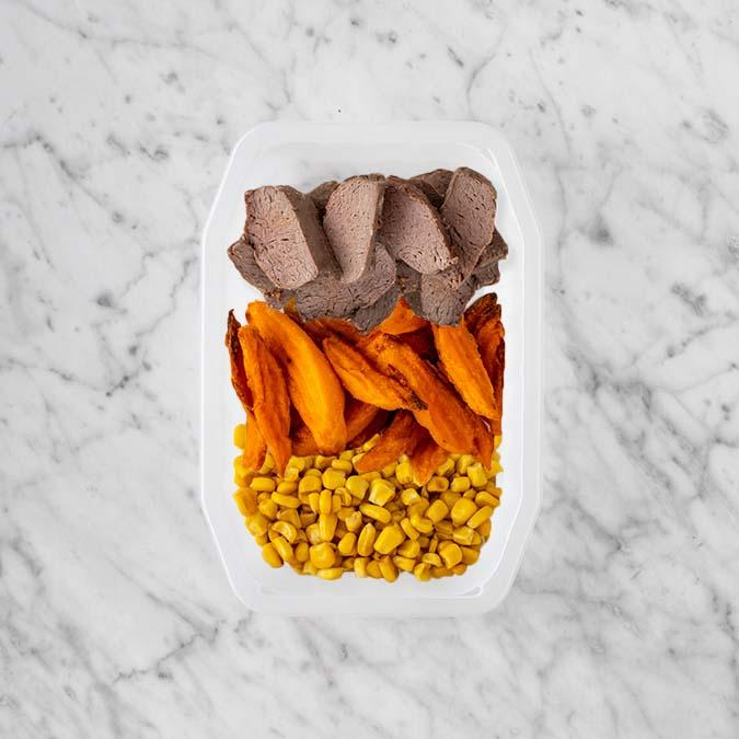 100g Mediterranean Lamb 150g Sweet Potato Fries 200g Corn