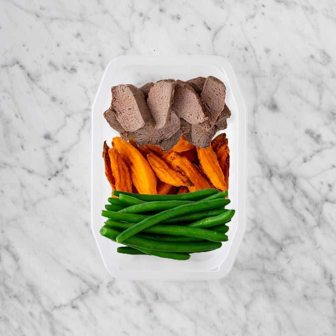 100g Mediterranean Lamb 100g Sweet Potato Fries 150g Green Beans