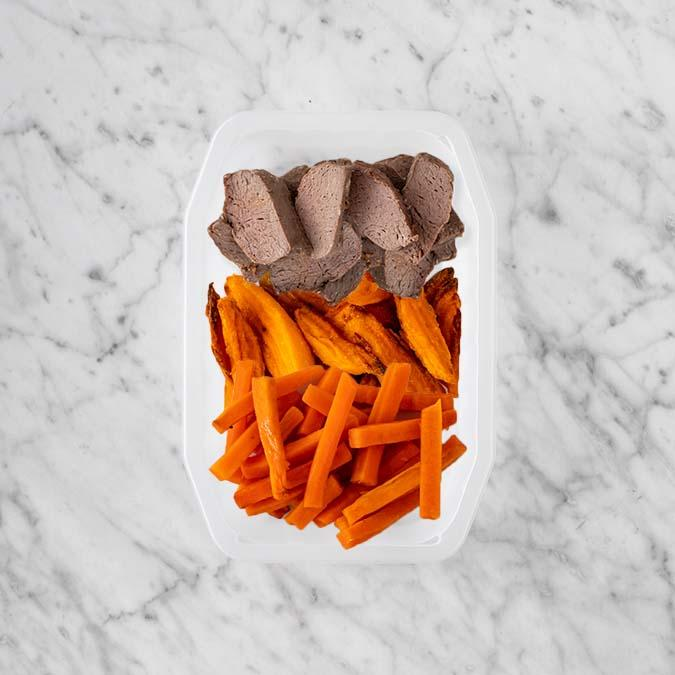 100g Mediterranean Lamb 100g Sweet Potato Fries 150g Honey Baked Carrots