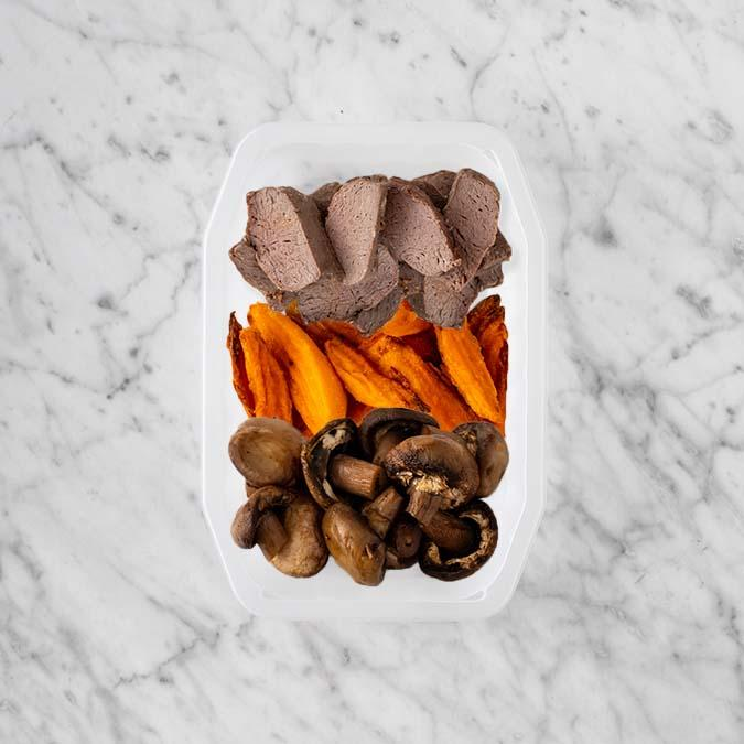 100g Mediterranean Lamb 100g Sweet Potato Fries 50g Mushrooms