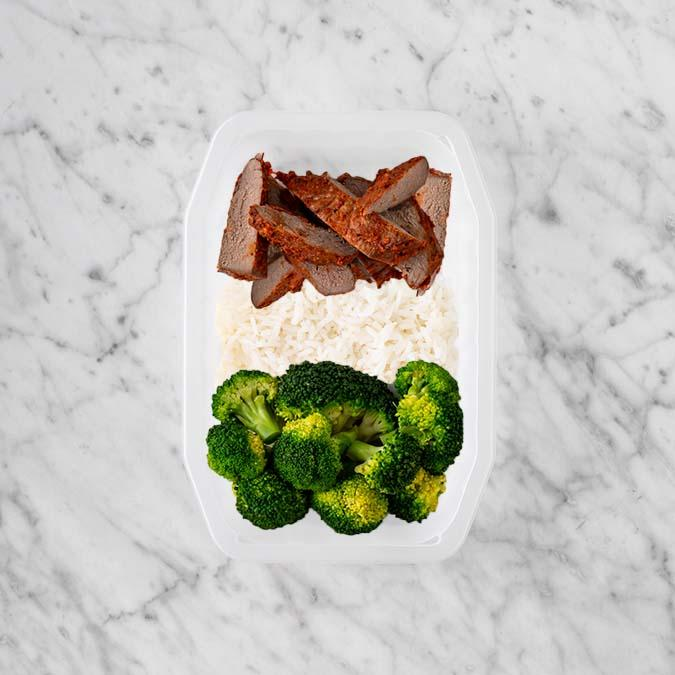 100g Smokey BBQ Steak 100g Basmati Rice 250g Broccoli