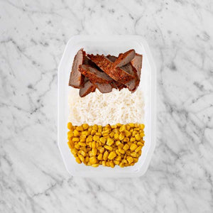 100g Smokey BBQ Steak 50g Basmati Rice 200g Corn
