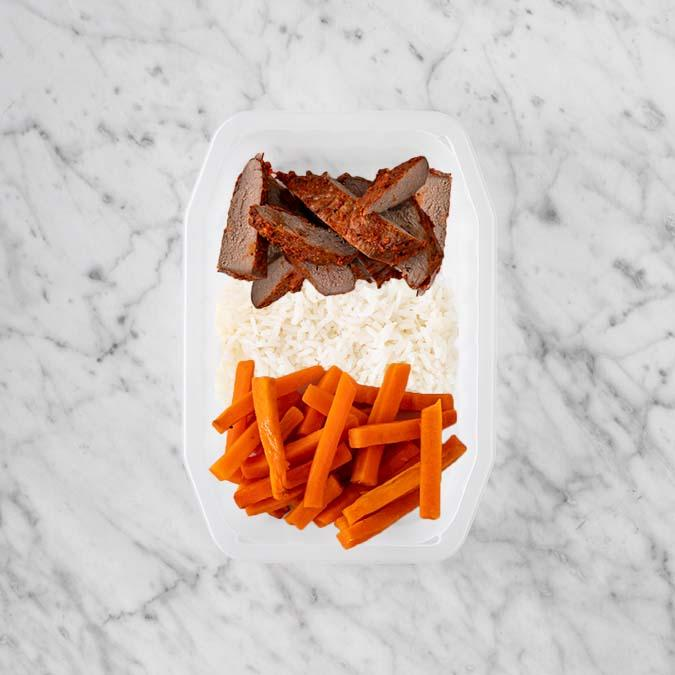 100g Smokey BBQ Steak 100g Basmati Rice 200g Honey Baked Carrots