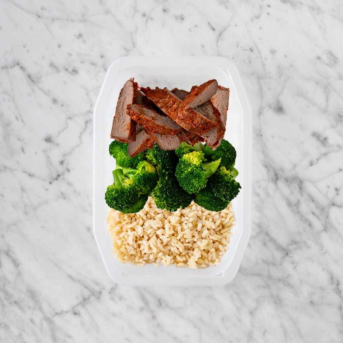 100g Smokey BBQ Steak 50g Broccoli 250g Brown Rice