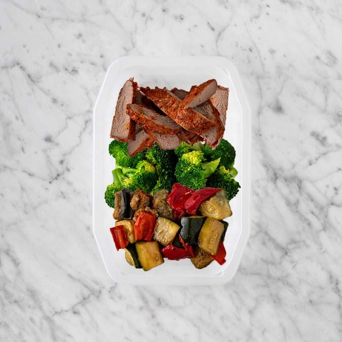 100g Smokey BBQ Steak 50g Broccoli 200g Char Veg