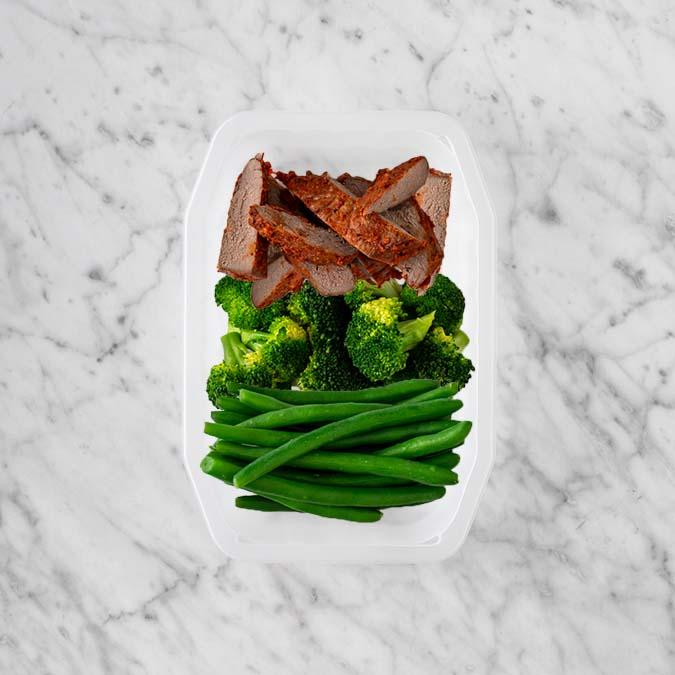 100g Smokey BBQ Steak 100g Broccoli 200g Green Beans
