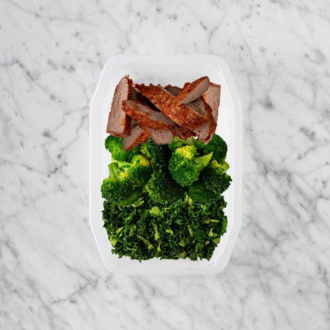 100g Smokey BBQ Steak 50g Broccoli 100g Kale