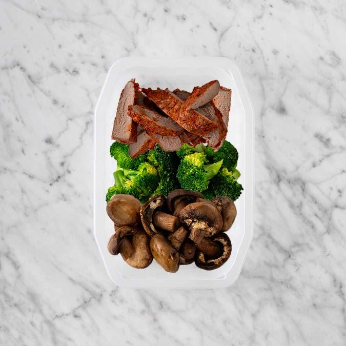 100g Smokey BBQ Steak 50g Broccoli 150g Mushrooms