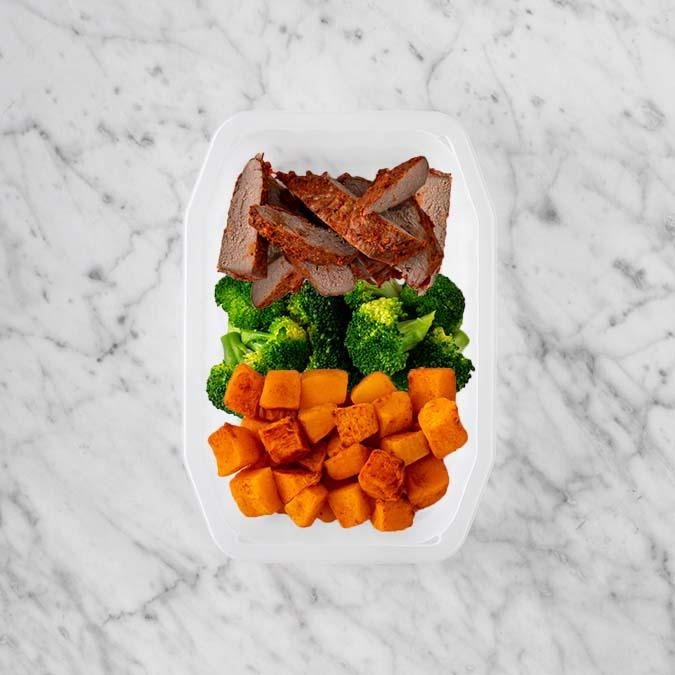 100g Smokey BBQ Steak 100g Broccoli 250g Rosemary Baked Sweet Potato