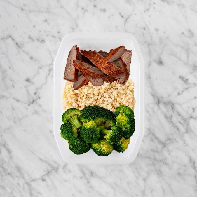 100g Smokey BBQ Steak 100g Brown Rice 250g Broccoli