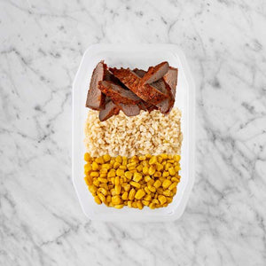 100g Smokey BBQ Steak 50g Brown Rice 150g Corn