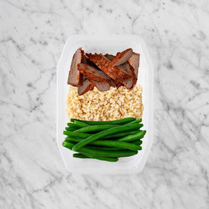 100g Smokey BBQ Steak 50g Brown Rice 150g Green Beans