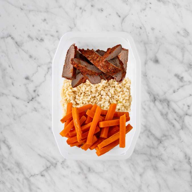 100g Smokey BBQ Steak 50g Brown Rice 200g Honey Baked Carrots