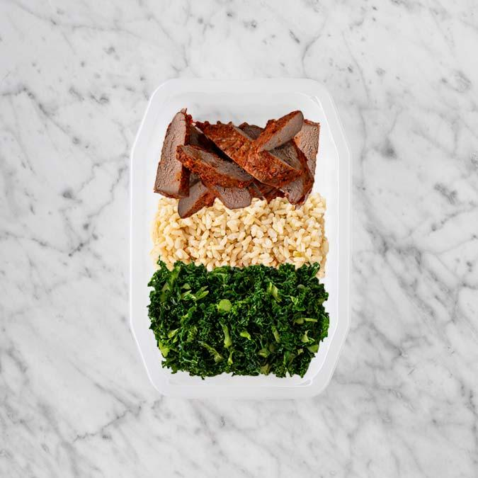 100g Smokey BBQ Steak 50g Brown Rice 100g Kale
