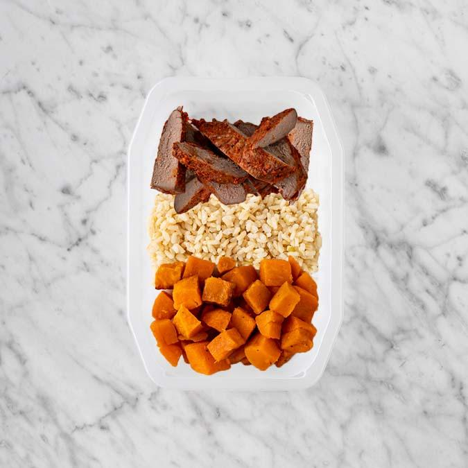 100g Smokey BBQ Steak 50g Brown Rice 50g Smokey Pumpkin