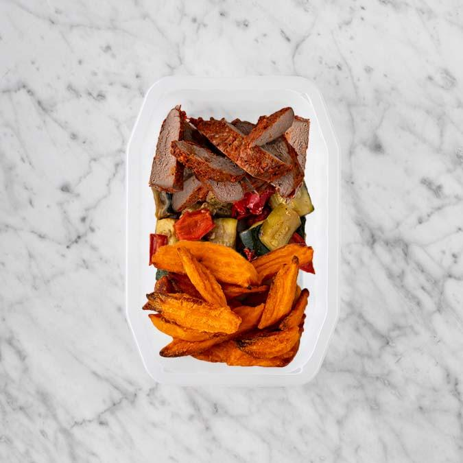 100g Smokey BBQ Steak 50g Char Veg 250g Sweet Potato Fries