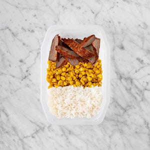 100g Smokey BBQ Steak 50g Corn 150g Basmati Rice